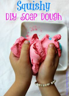 Super Squishy DIY Soap Dough Recipe, Fun Sensory Play, Great Homemade Soap, A Perfect DIY Gift Idea, Kids love this colorful soap sensory experience