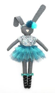 fabric bunny - Navy Plum