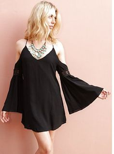 West Coast Wardrobe Spring Valley Open Shoulder Dress in Black