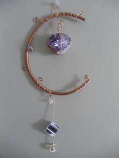 Copper Sculpture with Raw Amethyst Geode by UndertheVioletWillow, $42.50