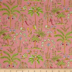 Designed by Dena Designs for Free Spirit, this cotton print fabric is perfect for quilting, apparel and home decor accents. Colors include green, red, purple and light blue on a coral pink background.
