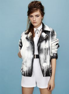 Spray paint leather jacket from Topshop's brand new lookbook!