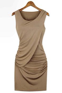 Celeb inspired sexy body-con dress features round neck, sleeveless, slightly draped front and ruched side accent, tight fitted bandage material to have heads turning!