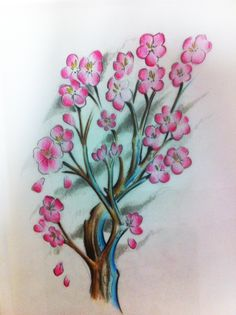 Tattoo art - credit to Ben Fluxx at Octopus Tattoo this is his bespoke design of a cherry blossom tree - it looks exactly the same but better on skin. Amazing artist.