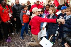 The royal couple started the walk from the Palace of Monaco to join the Stadium Louis II i...