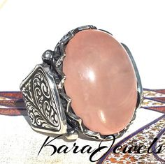 925 Sterling Silver men's ring with natural Pink Quartz unique handcrafted  #KaraJewels #Handmade #jewellery #mens #ring #sterling #silver #pink #quartz
