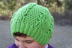 Crochet Cable Green/ Lime Green Slouchy Chunky Beanie Hat - pinned by pin4etsy.com
