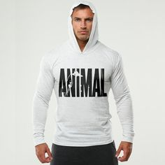 Brand Clothing ANIMAL printed Long Sleeve Slim Fit Hooded T Shirt Men Cotton Tee Shirt Bodybuilding and Fitness Sportwear TShirt Mens Sweatshirts, Hoodies, Jumper Outfit, Animal Print Outfits, Tee Shirts, Shirt Men, Cotton Tee, Bodybuilding, Long Sleeve
