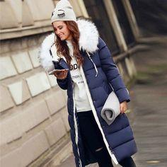 Fashion Women's winter jacket X-Long cotton winter coat Fox Fur Hood Parkas down jackets