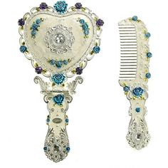 Ivenf Heart Shape Hand-Painted Royal Vintage Princess Metal Hand Mirror Comb Set, Wedding Anniversary Christmas Gift, Silver Set ($18) found on Polyvore featuring home, home decor, holiday decorations, silver home decor, vintage home decor, vintage holiday decorations, heart home decor and vintage holiday decor