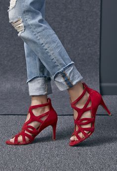 Caged high heel sandals in red suede   Sole Society Alessa