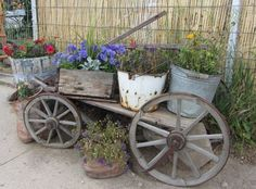 139 best images about beautiful borrows and carts on . Flower Cart, Flower Boxes, Front Porch Landscape, Old Wagons, Old Farm Equipment, Garden Junk, Ponds Backyard, Outdoor Landscaping, Outdoor Decor