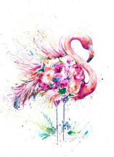giclee print Pink flamingo tropical bird, l flower print ideal girl's room! Watercolor Art Print by Nicola Jane Rowles - ART Watercolor Painting Flamingo Painting, Flamingo Art, Pink Flamingos, Flamingo Flower, Flamingo Illustration, Watercolor Bird, Watercolour Painting, Painting Walls, Flamingo Tattoo
