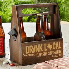 Drink Local Wood Beer Caddy