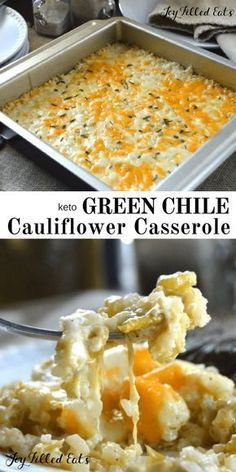 Green Chile Cauliflower Casserole - Cauliflower Rice Bake - Low Carb Keto Gluten-Free Grain-Free THM S - This easy side is a low carb remake of an old favorite. Creamy cheesy & packed with green chile flavor - Texas comfort food at its best! Keto Side Dishes, Veggie Dishes, Vegetable Recipes, Food Dishes, Gluten Free Recipes Side Dishes, Mushroom Recipes, Diet Recipes, Cooking Recipes, Healthy Recipes