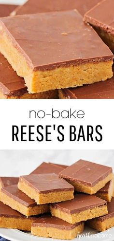 These no bake peanut butter bars are out of this world! They only take 10 minutes to make and taste like a homemade reese's bar! You'll love how easy they are to make. bake Desserts Reese's No Bake Peanut Butter Bars - I Heart Naptime Candy Recipes, Baking Recipes, Sweet Recipes, Cookie Recipes, Köstliche Desserts, Delicious Desserts, Dessert Recipes, Easy Desserts To Bake, Easy No Bake Recipes