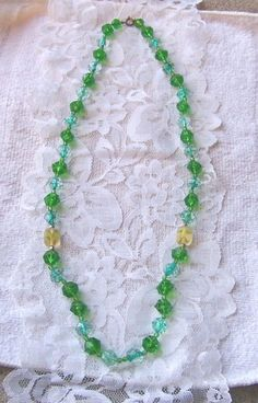 Vintage Signed Western Germany Shades of Green Bead Necklace & Cluster Earrings Crochet Necklace, Beaded Necklace, Green Necklace, Cluster Earrings, Vintage Signs, Shades Of Green, Germany, Beads, Flowers