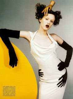 Karen Elson shot by Craig McDean for Vogue Italia Couture Supplement March 1999, in Christian Dior Haute Couture