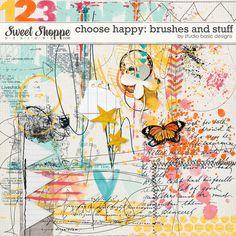 Choose Happy: Brushes And Stuff by Studio Basic Tiny Turtle, Livestock, Turtles, Brushes, Scrapbook, Kit, Make It Yourself, Studio, Sweet