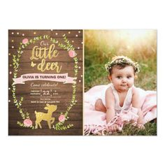Deer birthday invite Girl Pink Gold Woodland Party ♥ A perfect way to invite your guests to your little one's birthday! Little deer woodland theme with pink and gold. First Birthday Themes, Baby Girl 1st Birthday, 1st Birthday Invitations, Pink Invitations, 1st Birthday Girls, First Birthdays, Birthday Ideas, Paris Birthday, Free Birthday