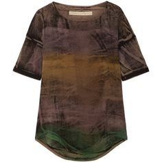 Raquel Allegra Distressed tie-dyed stretch cotton-blend T-shirt ($215) ❤ liked on Polyvore featuring tops, t-shirts, brown, ripped t shirt, destroyed tee, multi color t shirts, brown top and colorful t shirts