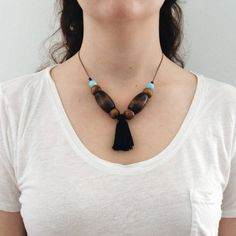 Adjustable beaded tassel necklace / by nutmegan
