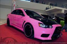 Pink and black Mitsubishi Lancer Evo Sexy Cars, Hot Cars, My Dream Car, Dream Cars, Barbie Car, Evo X, Mitsubishi Lancer Evolution, Car Goals, Bmw