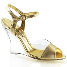 Shop for Fabulicious Women's Lovely 442 Clear/Gold Metallic PU/Clear. Get free delivery On EVERYTHING* Overstock - Your Online Shoes Outlet Store! Shoes Wedges Boots, Ankle Strap Wedges, Peep Toe Shoes, Open Toe Sandals, Womens Shoes Wedges, Wedge Sandals, Wedge Shoes, Metallic Gold, Wedges