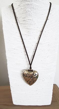 Unique heart necklace for girlfriend, brass heart necklace, leather with heart…