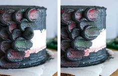 Use this simple decorating technique to create the perfect red velvet Dragonscale Cake and impress your Game of Thrones loving friends! Bolo Game Of Thrones, Game Of Thrones Kuchen, Game Of Thrones Food, Game Of Thrones Party, Creative Cake Decorating, Cake Decorating Tools, Cake Decorating Techniques, Creative Cakes, Decorating Ideas