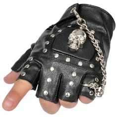 Amazon.com: Minibee Men's Fingerless Stud Metal Skull+Chain Gloves... ($30) ❤ liked on Polyvore featuring men's fashion and gloves