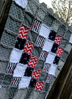 NAUTICAL Navy Red & Gray Rag Quilt/Blanket Perfect by BabyBazerk! Absolutely adorable! Would be CUTEST nursery crib bedding! nautical nursery, red and navy nursery, red navy gray nursery, boy nursery ideas, anchor nursery
