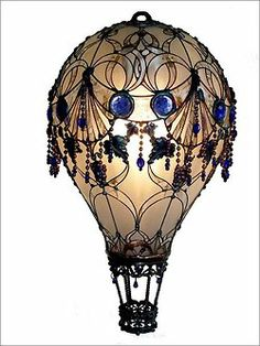design steampunk Lamp light bulbs hot air balloon upcycled steam punk recycled art steampunk tendencies