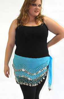 Plus Size Belly Dance Hip Scarf with Coins - TURQUOISE / SILVER