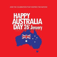 Happy Australia Day 26th January inscription poster with Australia map, Australian flag isolated, stars and fireworks. Holiday vector illustration. Festive red flayer background. For Advertising, Traveling, Promotion, Celebration, Congratulate, Kids Event Illustration