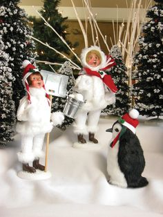 Byers' Choice Caroler Figurines — Snow Day Girl with Snowballs, Snow Day Boy with Shovel, Penguin