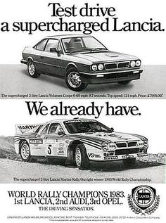 Lancia Beta advertisement. Circa 1984. The 1983 World Rally Championship season was the 11th season of the Fédération Internationale de l'Automobile (FIA) World Rally Championship (WRC). The season consisted of 12 rallies. German Walter Röhrl, champion of the previous year despite his manufacturer's failed bid to capture the title, was tapped to drive for the Martini Racing team along with Finn Markku Alén in the new Lancia Rally 037 car. Lancia emerged on top winning 12 events