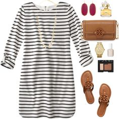 striped dress & Tory by classically-preppy featuring Tory Burch, Kendra Scott, Michael Kors, Feather & Stone, NARS Cosmetics, Marc Jacobs and Essie