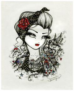 5x7 Rockabilly Girl Cherry Rose Sparrow Tattoo Fairy Big Eye Fantasy Art Print Hannah Lynn by hannahlynnart on Etsy https://www.etsy.com/listing/246803396/5x7-rockabilly-girl-cherry-rose-sparrow
