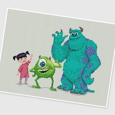 PDF Cross Stitch pattern  Monsters Inc  INSTANT download  by PIXcross  ~ CROSS STITCH
