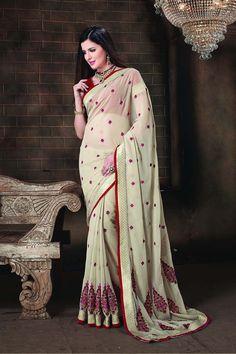 Buy Cream Chiffon Designer Saree Online in low price at Variation. Huge collection of Designer Sarees for Wedding. #designer #designersarees #sarees #onlineshopping #latest #lowprice #variation. To see more - https://www.variationfashion.com/collections/designer-sarees