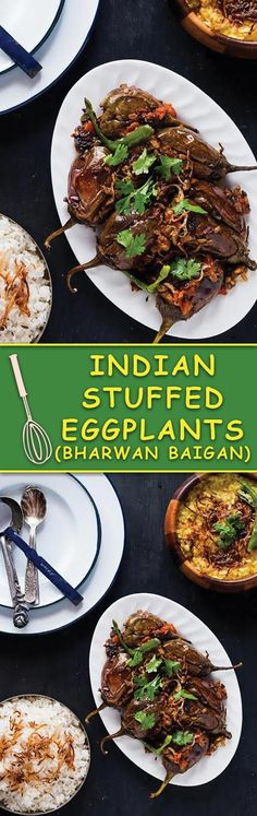 Bharwan Baigan - Indian Style Stuffed Eggplants, tons of flavor, a simple side dish. Great for serving with bread or along side rice & dal! A simple Indian meal that is nourishing too!