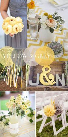 Jaune et gris, combinaisons gagnantes de couleurs pour votre mariage en 2015. Yellow and gray, winning color combinations for your 2015 wedding.