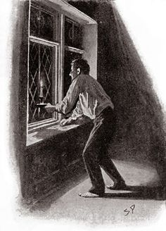 The Hound of the Baskervilles  Chapter VIII First Report of Dr. Watson  SIDNEY PAGET The Strand Magazine, November 1901 'HE STARED OUT INTO THE BLACKNESS OF THE MOOR.'
