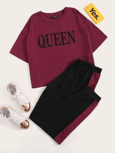 Ad: Plus Letter Print Top & Two Tone Pants Set. Tags: Yes Regular Fit Longline Regular Sleeve Polyester Tee Sweatpant Polyester Spandex Burgundy Letter Round Neck Casual Short Sleeve Fabric has some stretch Spring/Fall Girls Fashion Clothes, Teen Fashion Outfits, Outfits For Teens, Fall Fashion, Cute Lazy Outfits, Stylish Outfits, Jugend Mode Outfits, Pajama Outfits, Vetement Fashion