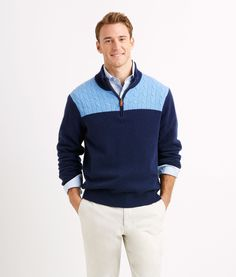Shop Sweaters: Cashmere Cable 1/4-Zip Sweater for Men | Vineyard Vines