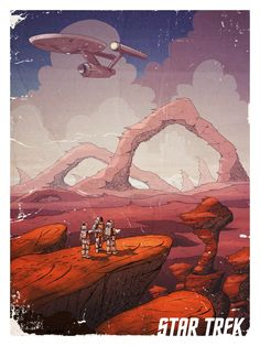 "I was asked by CBS Consumer Products-- along with 49 other artists-- to contribute a piece to a show called  ""Star Trek: 50 Years. 50 Artists.""Rather than focus on any particular film or episode for my piece, I decided to address the mission statement of the Enterprise crew to ""boldly go where no man has gone before."" In this piece, the crew is exploring a bizarre new planet while the Enterprise hovers in low orbit.This piece measures 18""x24"" an..."