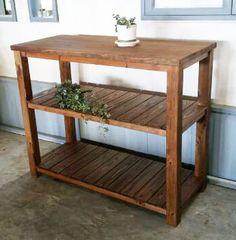 アンティーク風無垢材のキッチンカウンターです。作業台、キッチン収納棚としてもご利用いただけます。