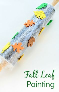 Fall Leaf Rolling Pin Painting. Fall process art for your fall activities or leaf theme in preschool or kindergarten. #kindergarten #fallintheclassroom #preschoolactivities #artforkids