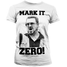 """This is a classic Big Lebowski women's t-shirt features the Vietnam Veteran Walter Sobchak in large black and white photographic print with the slogan 'Mark it zero' which is the quote from Walter when seriously annoyed about Smokey crossing the line at the bowling alley, Walter pulls his handgun out and tells him """"mark it zero."""" This is a fully licensed product."""